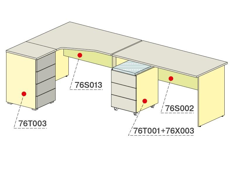 Комплект для персонала (Стол угловой с тумбой + стол прямой с тумбой)