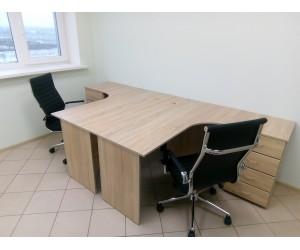 Набор мебели для офиса (2 стола 2 кресла), дуб сонома