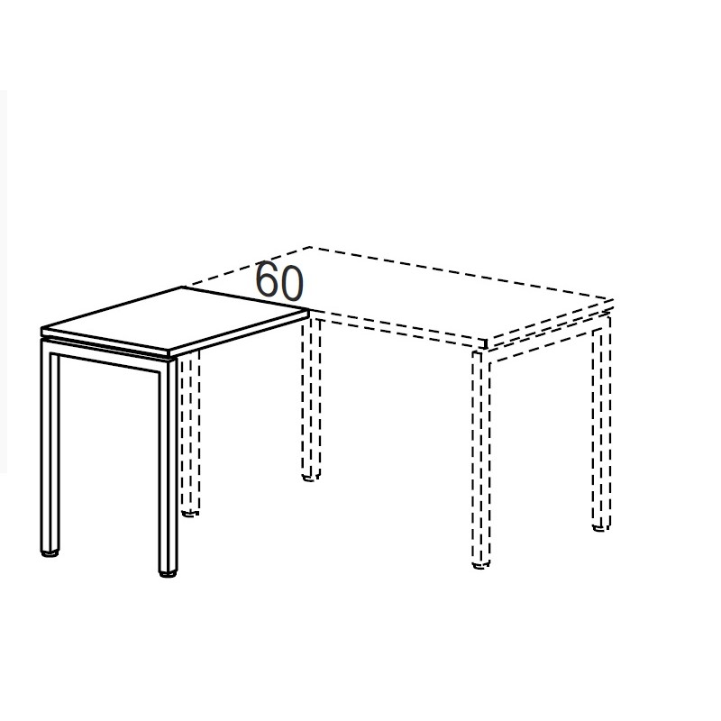 Стол дополнительный на металлокаркасе 800х600х750h мм