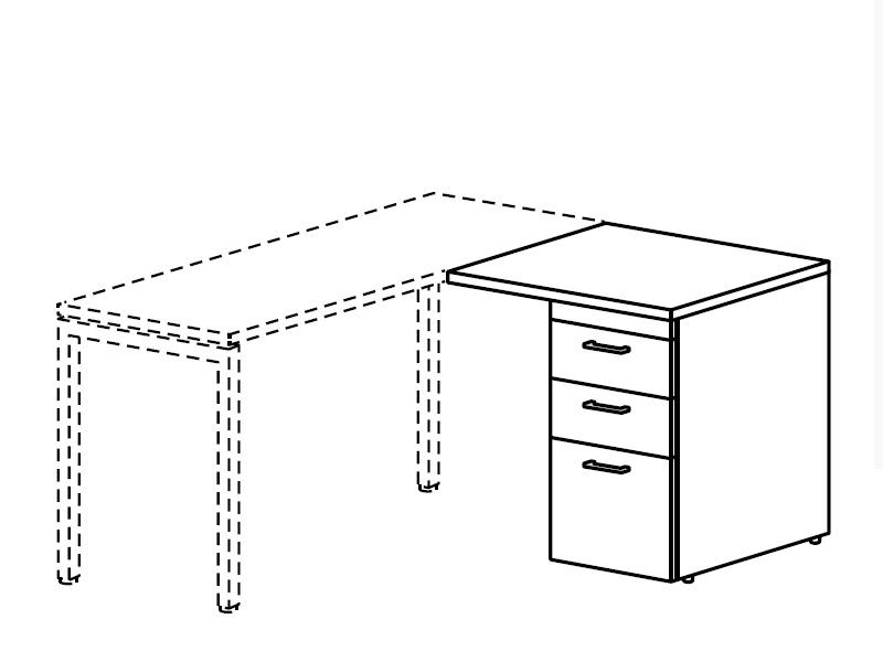 Тумба приставная для использования справа