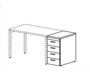 Тумба приставная для столов на металлокаркасе