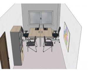 Готовый проект офисной мебели для кабинета 15,8 м2