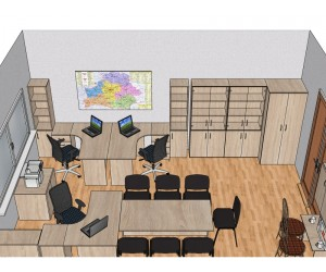 Готовый проект офисной мебели для кабинета 22,4 м2