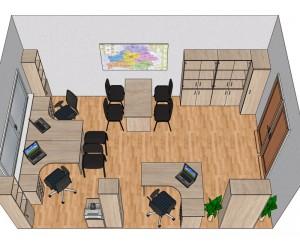 Готовый проект офисной мебели для кабинета 22,5 м2