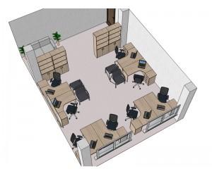 Готовый проект офисной мебели для кабинета 46,6 м2