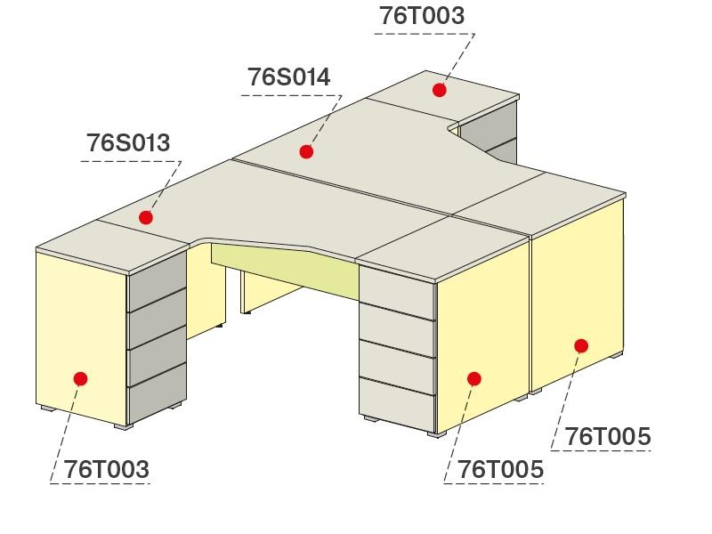 Комплект для персонала (Стол угловой+тумбы приставные)